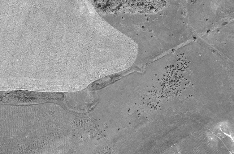 Фрагмент Линии с бастионом и реданом неподалёку от Берестовеньки на снимках ArcGIS.