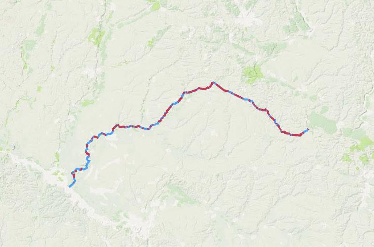 Вал Украинской линии (красным выделены видимые участки).