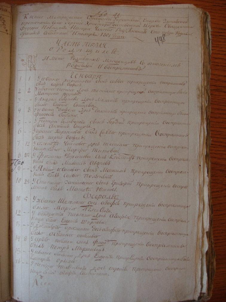 Метрическая книга Береки за 1801 год