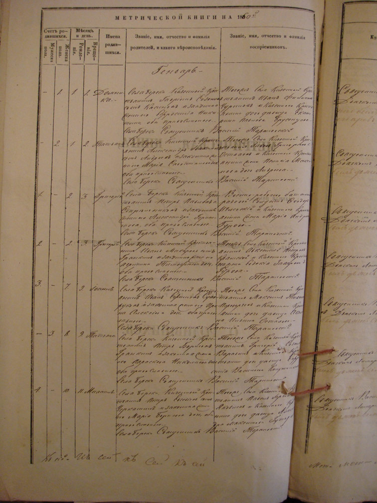 Метрическая книга Береки за 1860 год