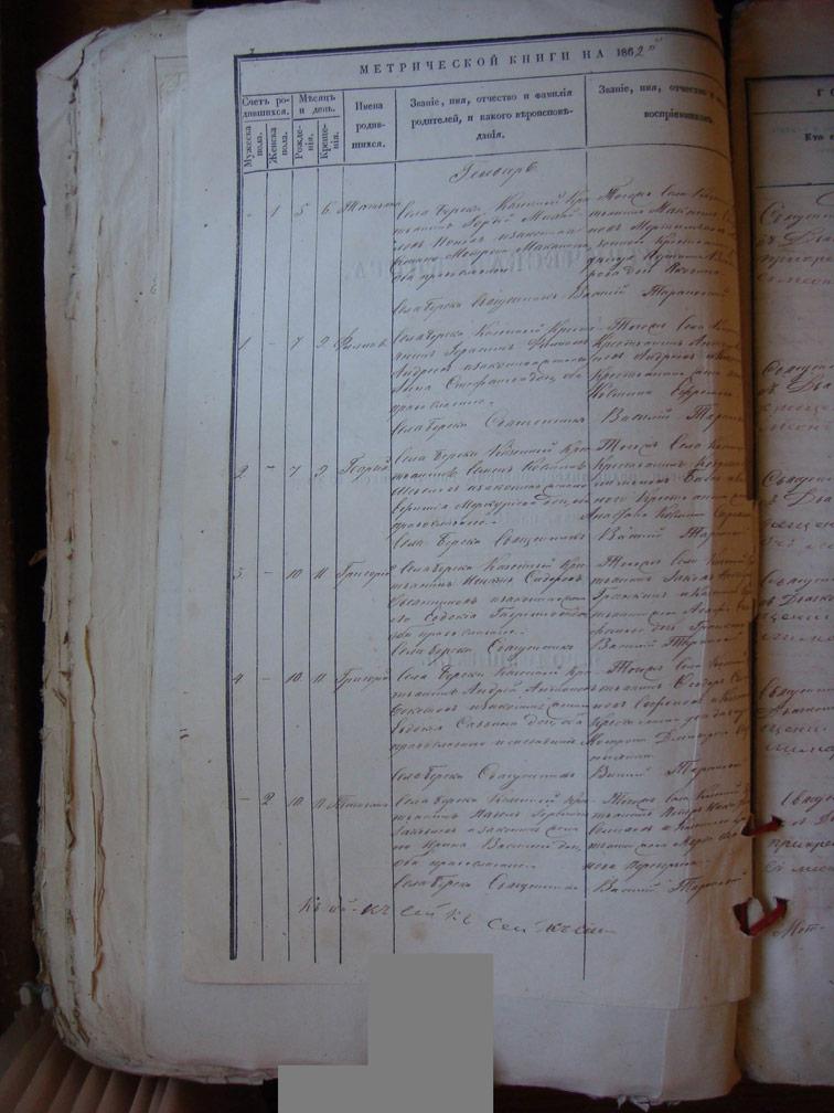 Метрическая книга Береки за 1862 год