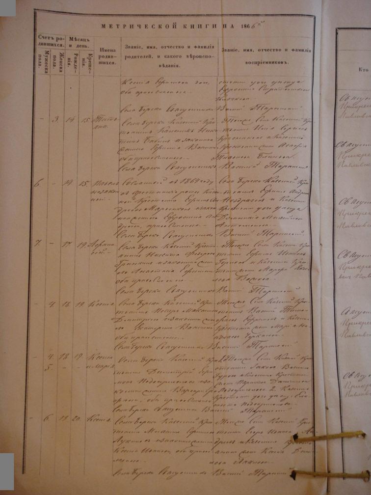 Метрическая книга Береки за 1866 год