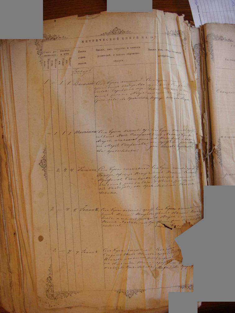 Метрическая книга Христорождественской церкви села Берека за 1875 год