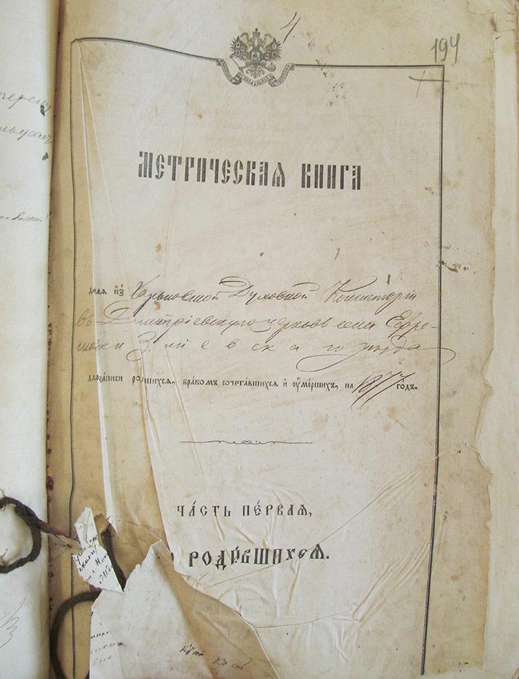 Метрическая книга Дмитриевской церкви церкви села Ефремовка за 1877 год