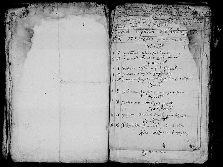 Метрическая книга Рождество-Богородицкой церкви Тамбовской крепости за 1768 год