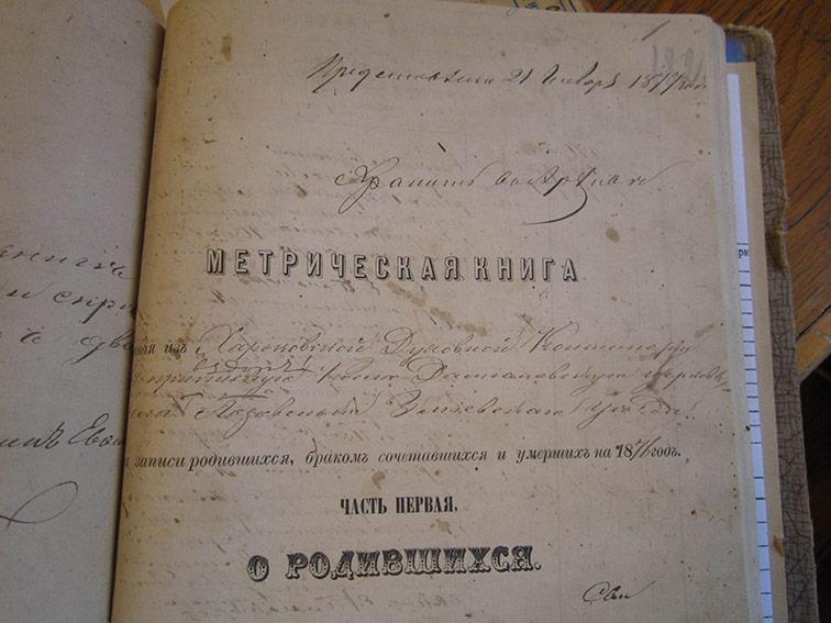 Метрическая книга Космо-Дамиановской церкви села Лозовеньки за 1876 год