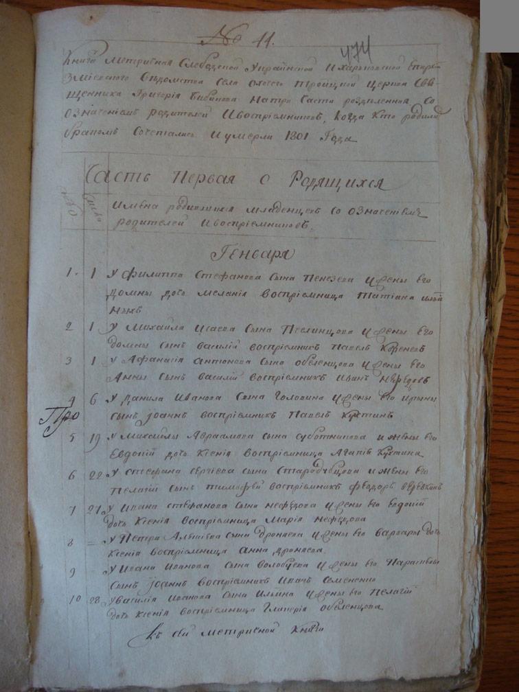 Метрическая книга Троицкой церкви села Охочее за 1801 год