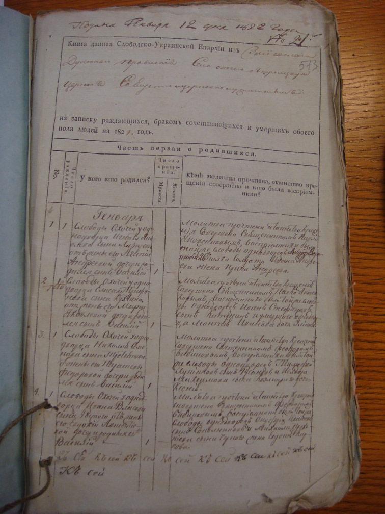 Метрическая книга Троицкой церкви села Охочее за 1821 год