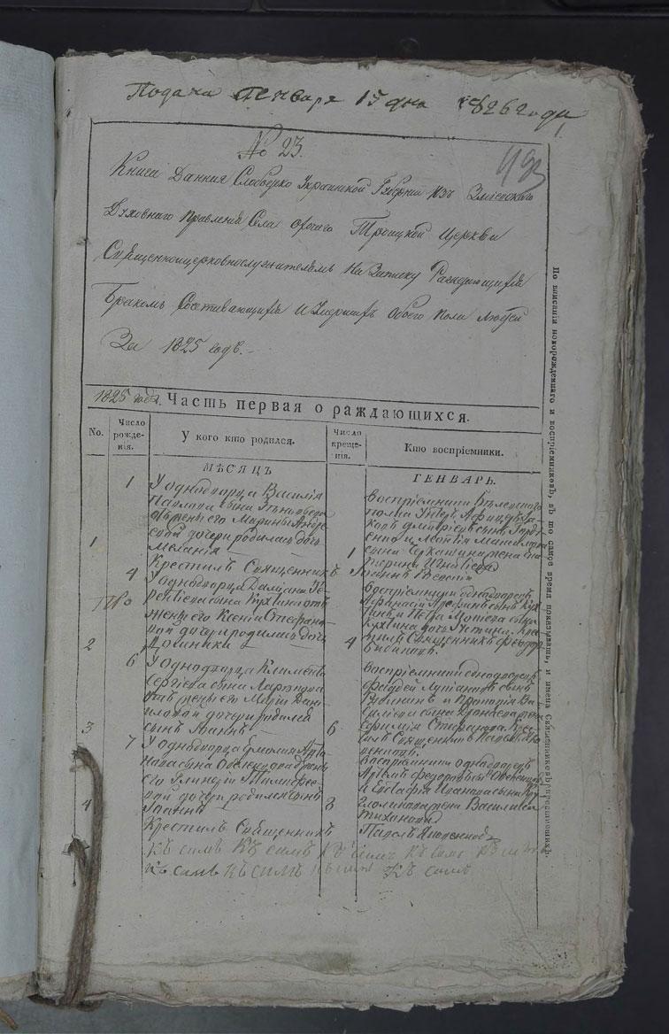 Метрическая книга Троицкой церкви села Охочее за 1825 год