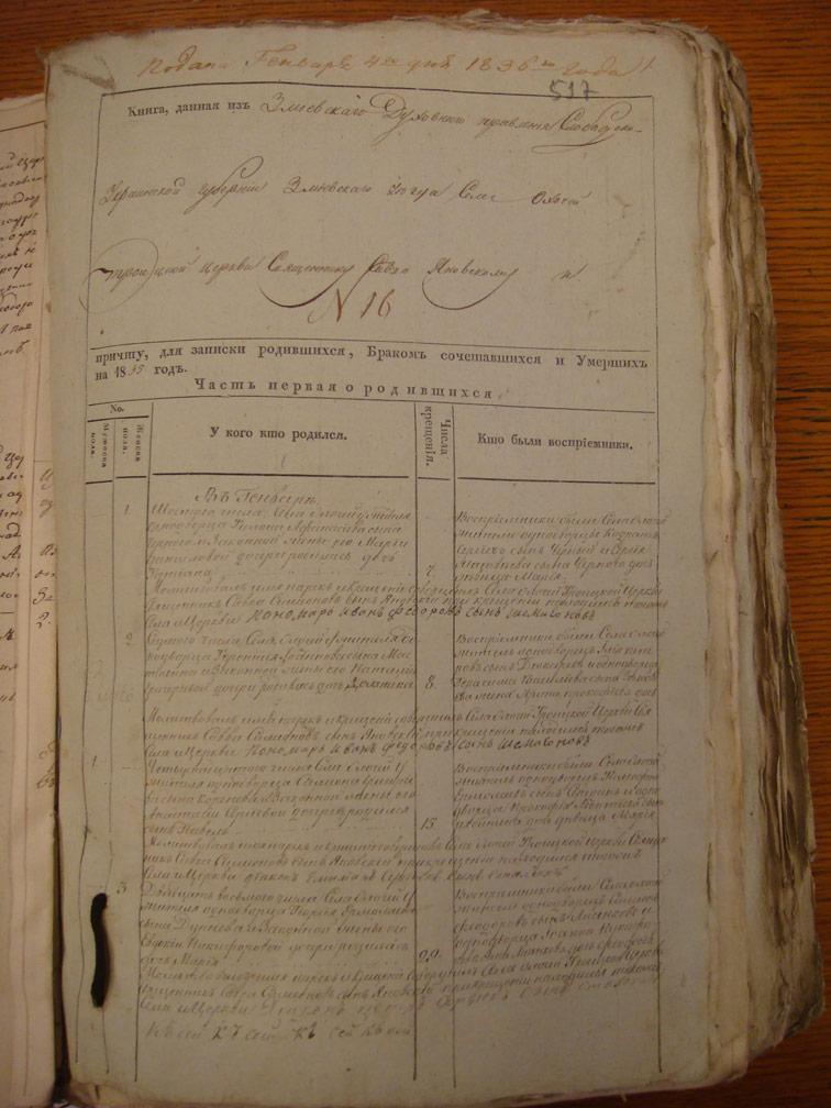 Метрическая книга Троицкой церкви села Охочее за 1835 год