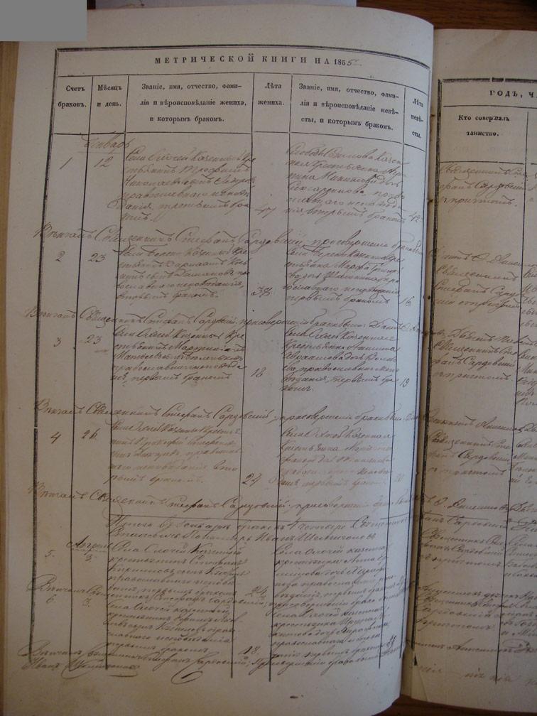 Метрическая книга Троицкой церкви села Охочее за 1855 год (только браки)