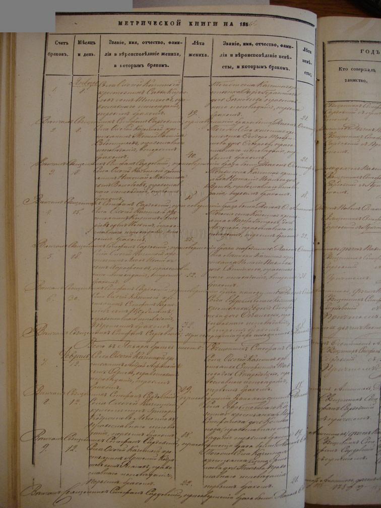 Метрическая книга Троицкой церкви села Охочее за 1856 год (только браки)