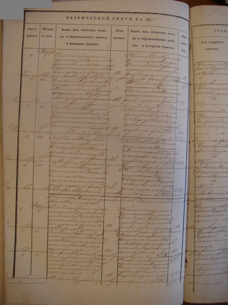Метрическая книга Троицкой церкви села Охочее за 1857 год (только браки)
