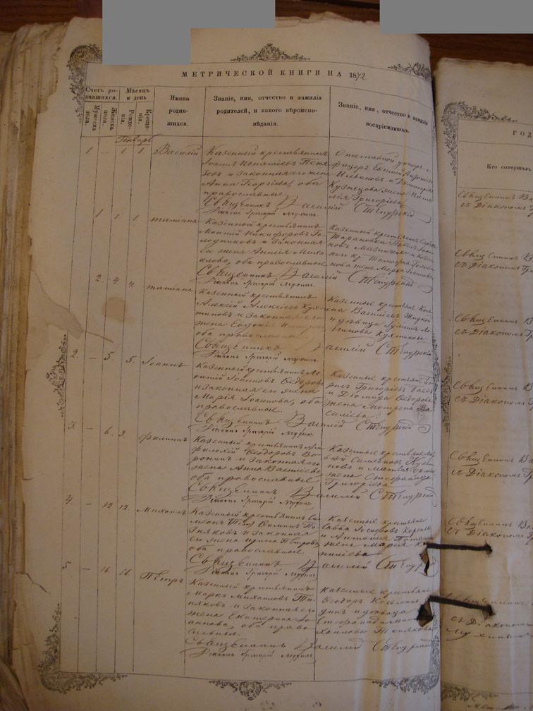 Метрическая книга Троицкой церкви села Охочее за 1872 год
