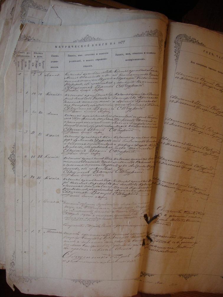 Метрическая книга Троицкой церкви села Охочее за 1874 год