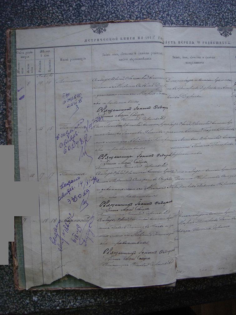 Метрическая книга Троицкой церкви села Охочее за 1912 год
