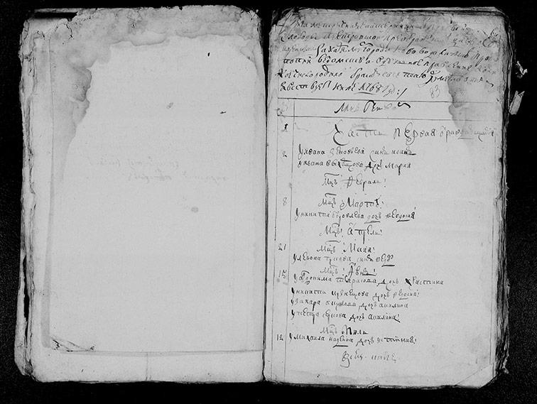 Метрическая книга Преображенской церкви села Петровское за 1768 год