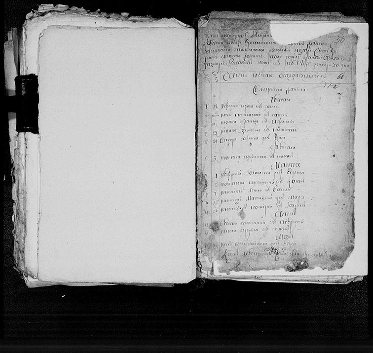 Метрическая книга Екатерининской церкви села Протопоповки за 1761 год