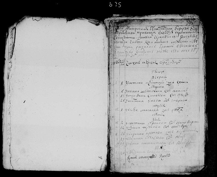 Метрическая книга Екатерининской церкви села Протопоповки за 1771 год