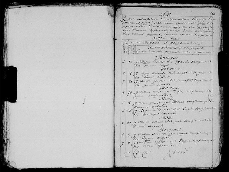 Метрическая книга Екатерининской церкви села Протопоповки за 1791 год