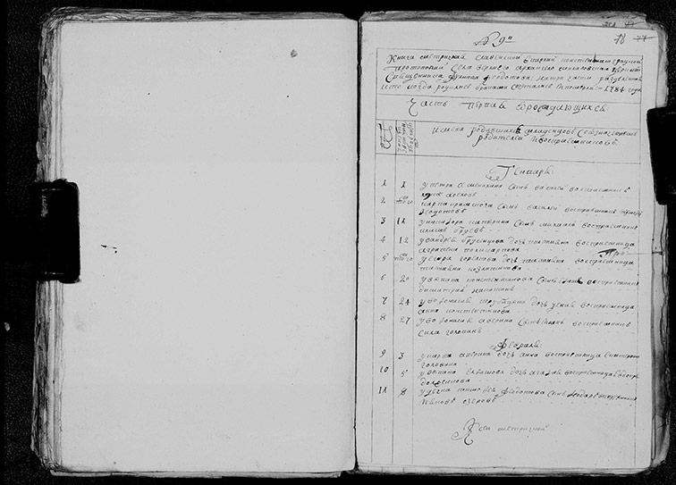 Метрическая книга Архангело-Михайловской церкви села Верхний Бишкин за 1784 год