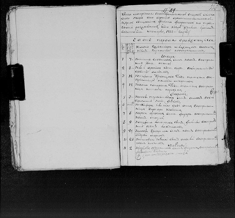 Метрическая книга Архангело-Михайловской церкви села Верхний Бишкин за 1788 год