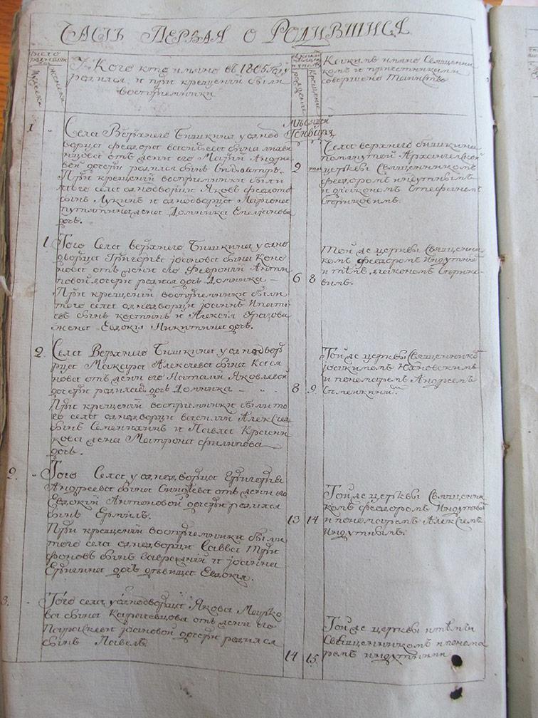 Метрическая книга Архангело-Михайловской церкви села Верхний Бишкин за 1805 год
