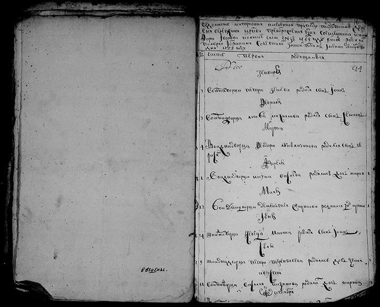 Метрическая книга церкви Преображения Господня села Верёвкино за 1755 год