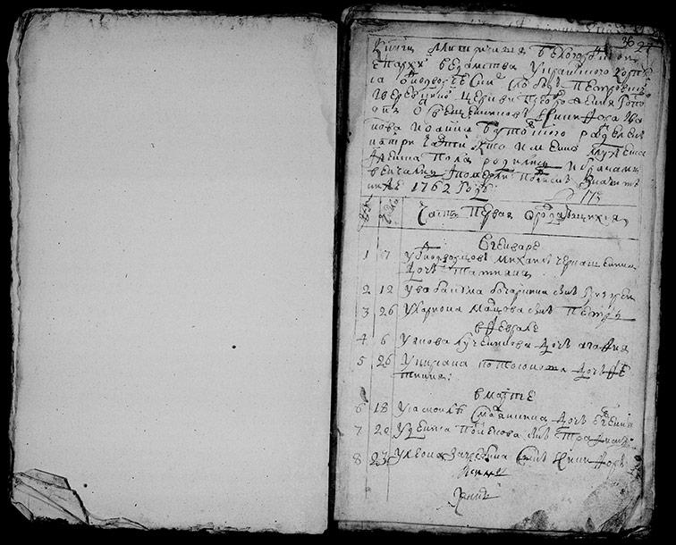 Метрическая книга церкви Преображения Господня села Верёвкино и Петровское за 1762 год