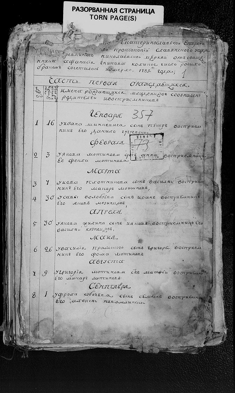 Метрическая книга Николаевской церкви села Верёвкино за 1789 год