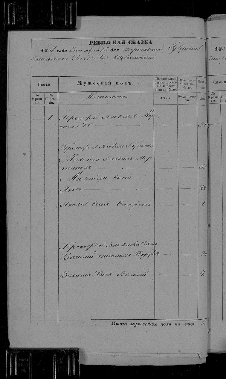 Ревизская сказка Шебелинки 1858 год (10-я ревизия)