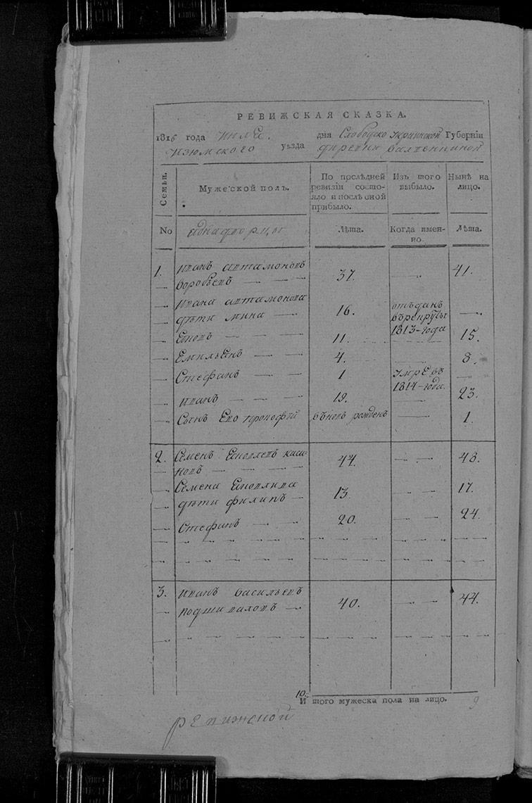Ревизская сказка Волвенкиной 1816 год (7-я ревизия)