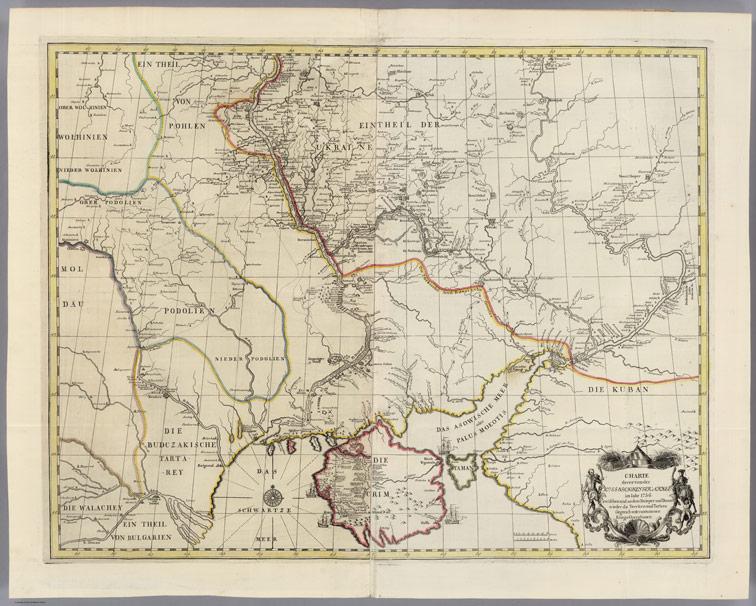 Карта победоносных действий Русской Императорской армии в 1736 году