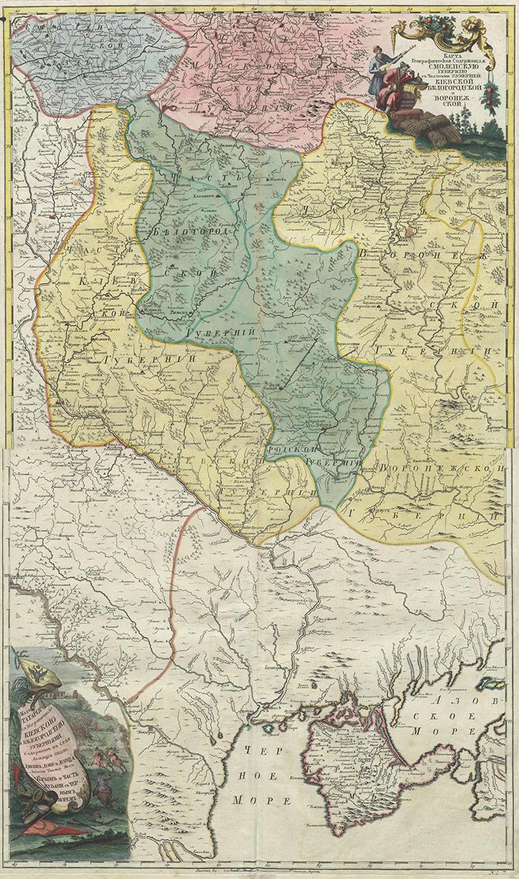 Карта Белгородской и Воронежской губерний, 1745 год
