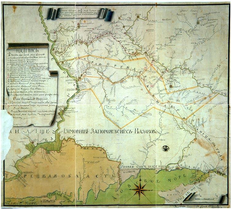 Ландкарта между рек Днепр и Донец, 1750 год