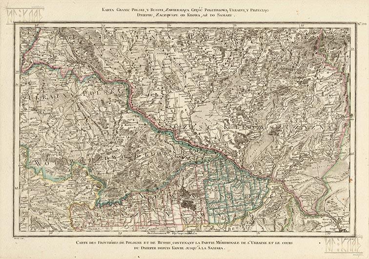 Карта границ Польши и России, содержащая южную часть Украины и течение Днепра от Киева до Самары, 1772 год (польск.)