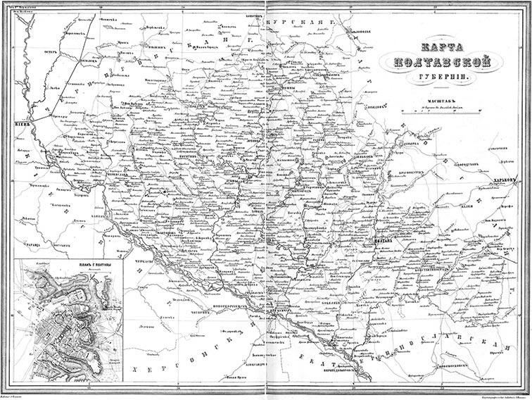 Карта Полтавской губернии 1871-й год