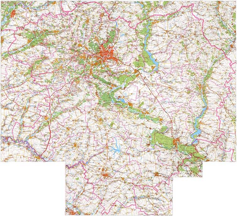 Современная карта Харьковской области